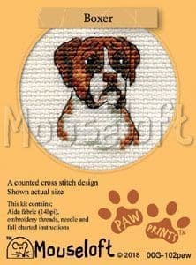 Mouseloft Boxer Paw Prints cross stitch kit